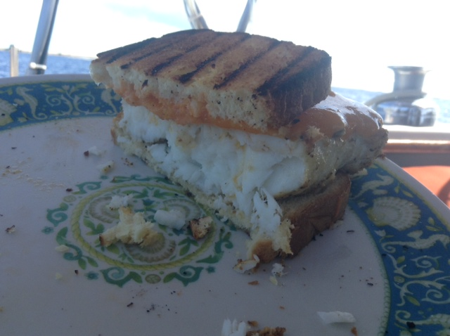 Eating Good onboard.  That is a hogfish sandwich.  Notice filet size!