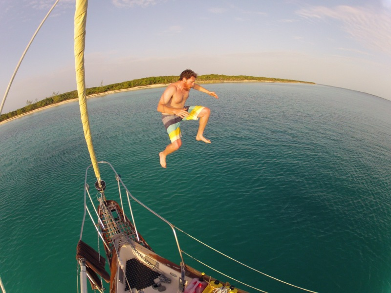 Makin the final leap into the Bahama Blue Water!