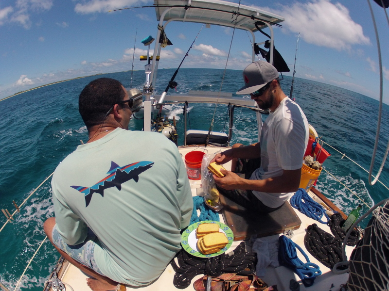 Grilling lunch as we round the tip of Great Harbour Cay