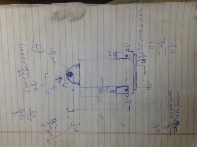 """My drawing of the mounting measurements.  My buddy louis called it """"Cuban Engineering"""""""