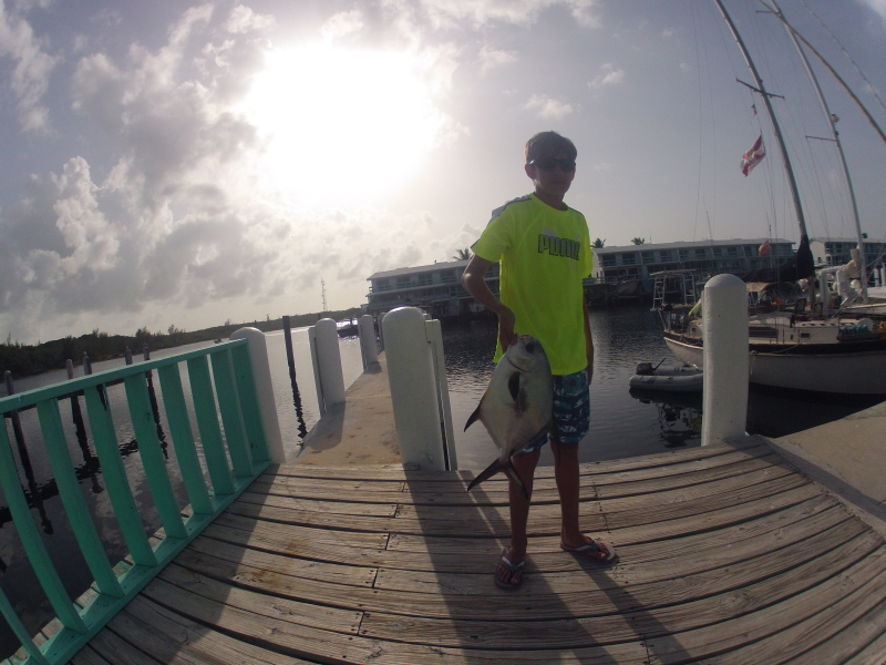 We've seen lots of people try to catch one of the permits here in the marina. This kid actually did. Paul cleaned it for him and he shared the filets. We were just about to run to the store to get something for dinner then all of a sudden, we had it!